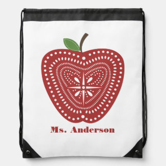 Folk Art Apple Teacher Drawstring Backpack