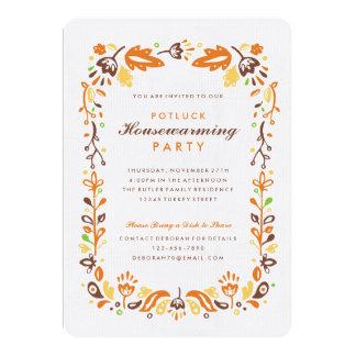 Folk Art Autumn Foliage Housewarming Party Card