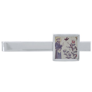 Folk art azulejo tile silver finish tie bar