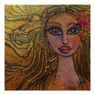 Folk Art Big Eyed Girl Flowers Whimsical Fairy Poster