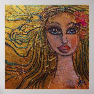 Folk Art Big Eyed Girl Flowers Whimsical Fairy Print