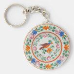 Folk Art Bird and flowers Basic Round Button Keychain