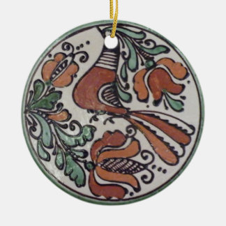 Folk Art Bird and Flowers Double-Sided Ceramic Round Christmas Ornament