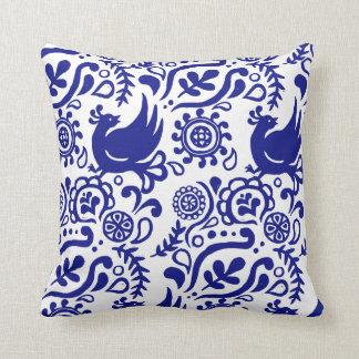 Folk Art Blue and White Pillow