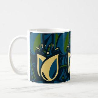 Folk Art Blue, Cream and Green Tulip Coffee Mug