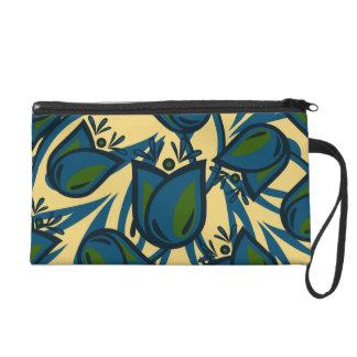 Folk Art Blue / Green Tulip Flower Wristlet