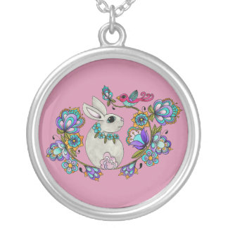 Folk Art  Bunny Silver Plated Necklace