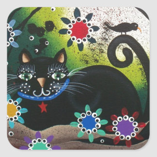 Folk Art_By Everett_ Day Of The Dead, Black CAT Square Sticker