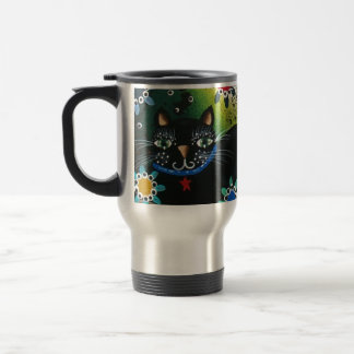 Folk Art_By Everett_ Day Of The Dead, Black CAT Travel Mug