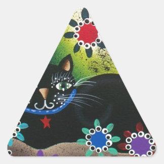 Folk Art_By Everett_ Day Of The Dead, Black CAT Triangle Sticker