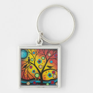 FOLK ART BY LORI EVERETT A Morning With You Silver-Colored Square Keychain