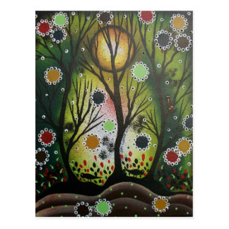 Folk Art_By Lori Everett, Day Of The Dead,Tree Art Postcard