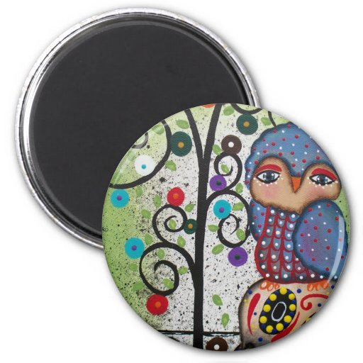Folk Art By Lori Everett OWL 2 Inch Round Magnet