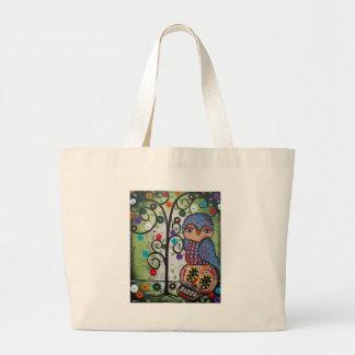 Folk Art By Lori Everett OWL Large Tote Bag