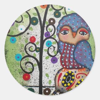 Folk Art By Lori Everett OWL Classic Round Sticker