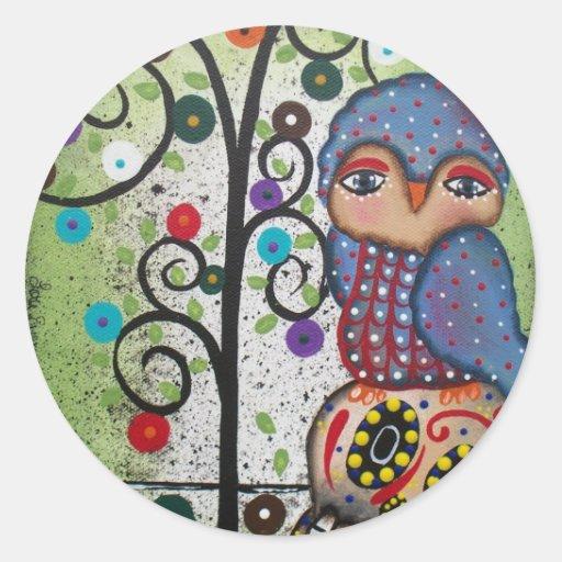 Folk Art By Lori Everett OWL Sticker