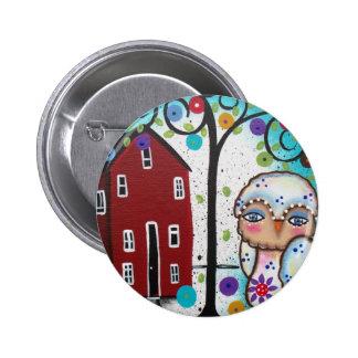 Folk Art By Lori Everett OWLS Pinback Button