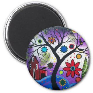 FOLK ART BY LORI EVERETT Rainbow Twilight Magnet