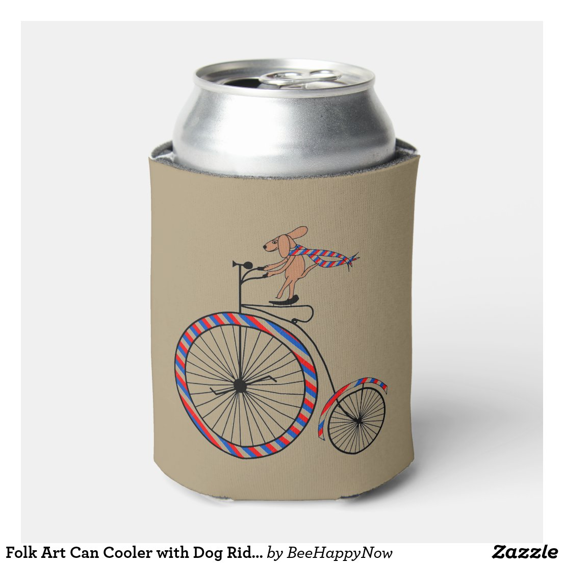Folk Art Can Cooler with Dog Riding Bicycle