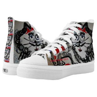Folk Art Cat Hi Tops Printed Shoes