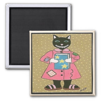 Folk Art CAT Refrigerator Magnets