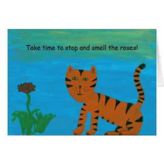 Folk Art Cat Painting Take Time to Smell The Roses Card