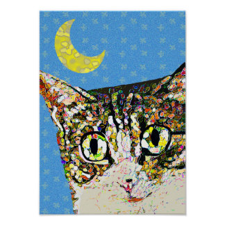 Folk Art Cat Under Crescent Moon Poster