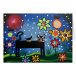 FOLK ART Cat With Attitude BY LORI greeting card