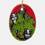 Folk Art Cats Christmas Tree Ornament