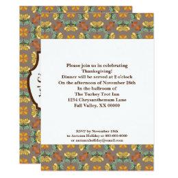 Folk Art Chrysanthemum Pattern Thanksgiving Card