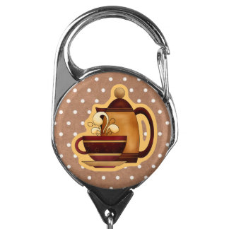 Folk Art Coffee Lover's ID Badge Holder