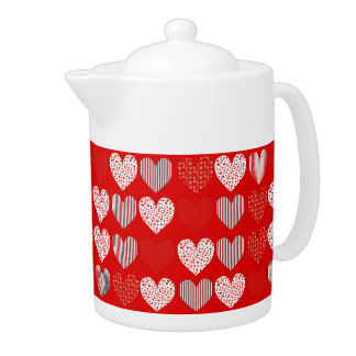 Folk Art Collage of Hearts Red Teapot