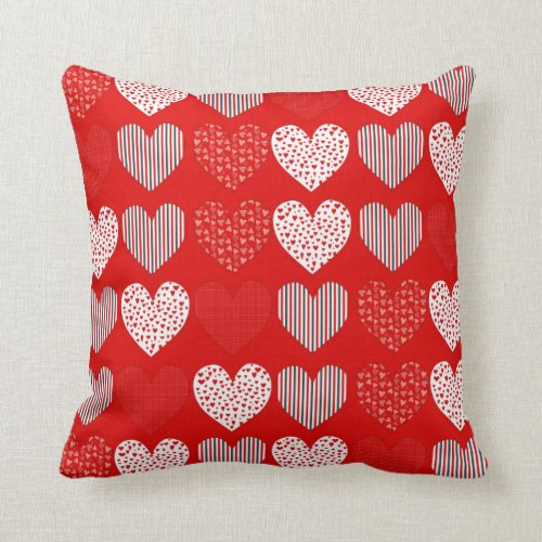 Folk Art Collage of Hearts Red Throw Pillow