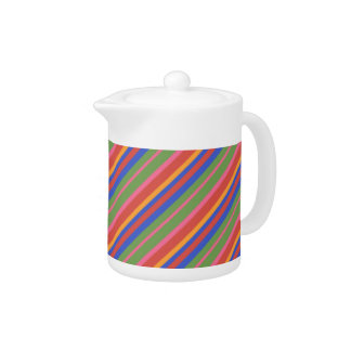 Folk Art Collection Brightly Striped China Teapot