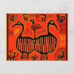 Folk Art Colorful Birds Postcard