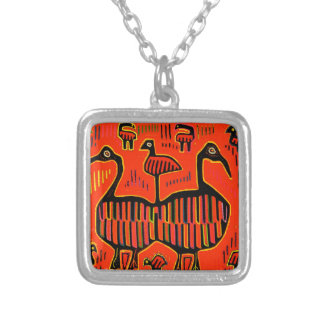 Folk Art Colorful Birds Silver Plated Necklace