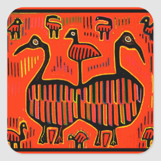 Folk Art Colorful Birds Square Sticker