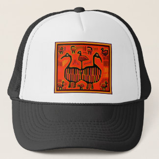 Folk Art Colorful Birds Trucker Hat