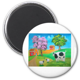 Folk art colorful cow and sheep painting 2 inch round magnet
