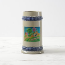 Folk art colorful cow and sheep painting beer stein