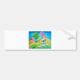 Folk art colorful cow and sheep painting bumper sticker
