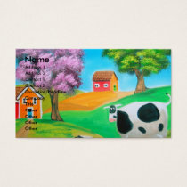 Folk art colorful cow and sheep painting business card