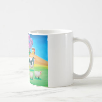 Folk art colorful cow and sheep painting coffee mug