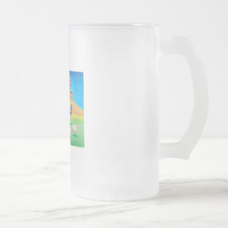Folk art colorful cow and sheep painting frosted glass beer mug