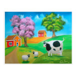 Folk art colorful cow and sheep painting post card