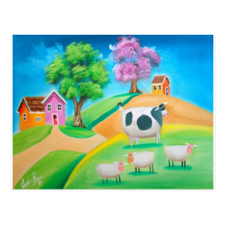 Folk art colorful cow and sheep painting postcard