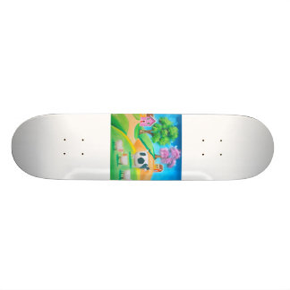 Folk art colorful cow and sheep painting skateboard deck