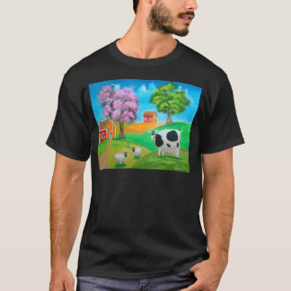Folk art colorful cow and sheep painting T-Shirt