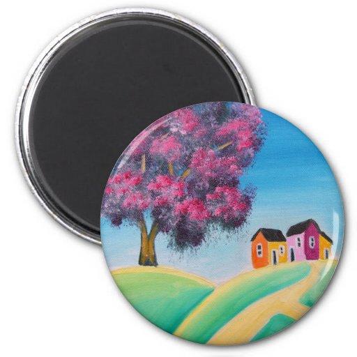 FOLK ART COLORFUL TREE FRIDGE MAGNET
