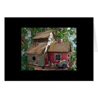 "Folk Art Country Lodge Birdhouse ""tweet tweet"" Card"
